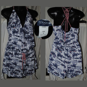 SPERRY Top Sider Romper Coverup Boat Print Sz L